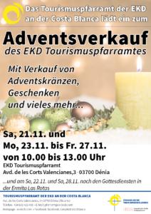 Plakat für den Adventsverkauf des EKD Tourismuspfarramtes in Denia