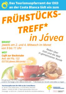 Frühstückstreff mit Pfarrer in Jávea. Jeden 2. und 4. Mittwoch im Monat von 9-11 Uhr im Café zur Backstube